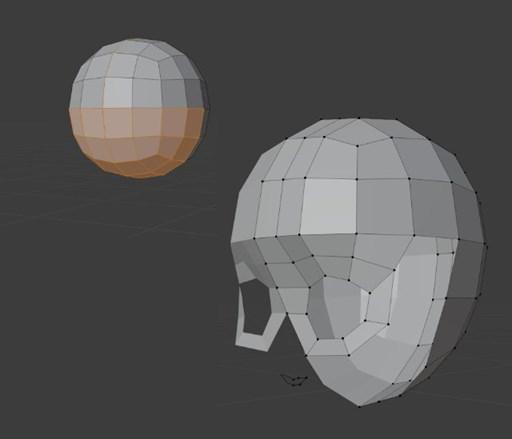 球の一部を削除して顔のみ板を貼っていく